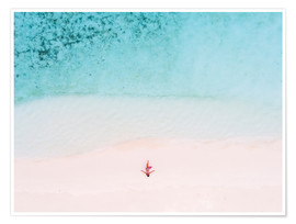 Poster  Drone view of woman on the beach, Maldives - Matteo Colombo