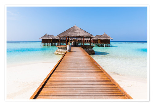 Poster Jetty and overwater bungalows, Maldives