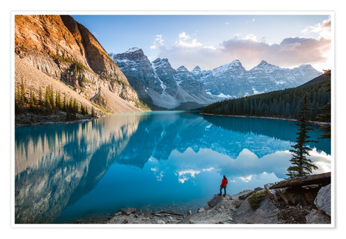 Poster Man admiring sunset at Moraine lake, Canada