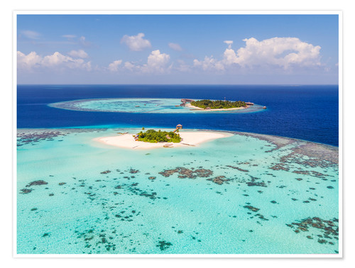 Poster Aerial view of islands in the Maldives
