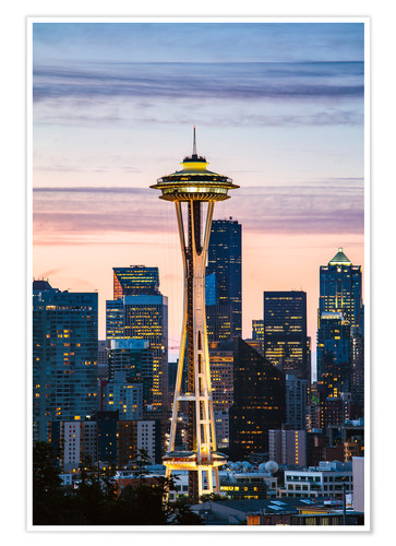 Poster Space Needle at sunrise, Seattle