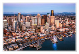 Poster  Aerial view of Seattle skyline, USA - Matteo Colombo