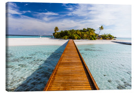 Tableau sur toile  Jetty to tropical island, Maldives - Matteo Colombo