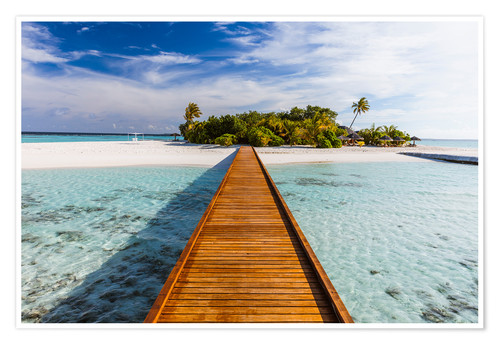 Poster Jetty to tropical island, Maldives