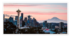 Poster  Seattle panoramic with Mount Rainier, USA - Matteo Colombo
