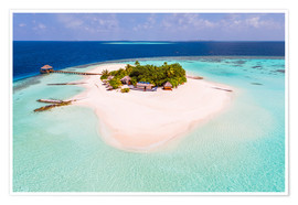 Poster Drone view of paradise island, Maldives