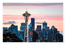Poster  Space Needle and Seattle skyline, USA - Matteo Colombo
