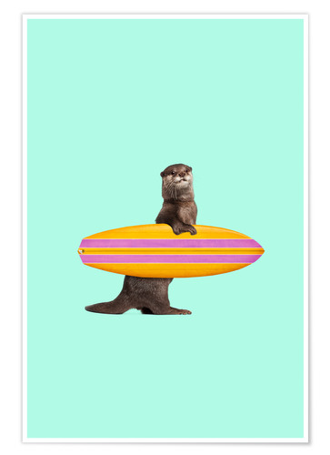 Poster Loutre surfeuse