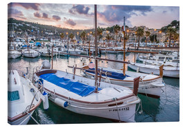Tableau sur toile  Evening mood in the port of Port Soller (Mallorca) - Christian Müringer