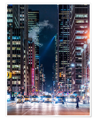 Poster New York Sixth Avenue at Night