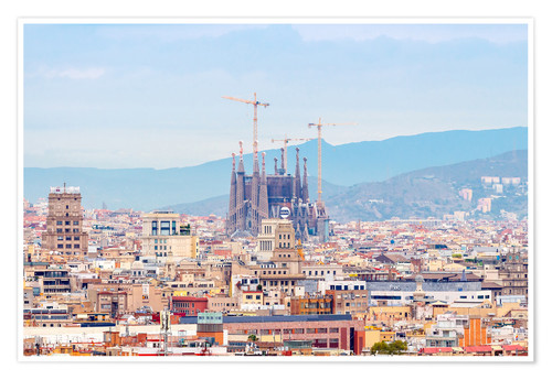 Poster Barcelona with the Cathedral of Gaudí