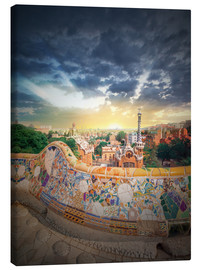 Tableau sur toile  The famous park Guell in Barcelona