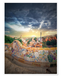 Poster The famous park Guell in Barcelona