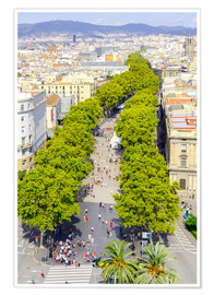 Poster  Barcelona and Las Ramblas with the Columbus Column