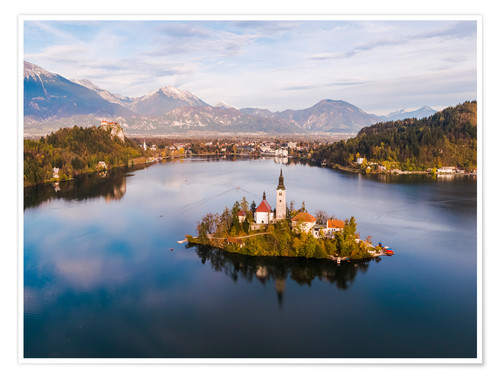 Poster Lake Bled and island in autumn, Slovenia