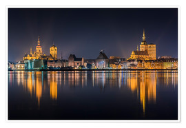 Poster  Skyline of Stralsund at night - Kristian Goretzki