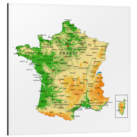 Tableau en aluminium  Carte de la France