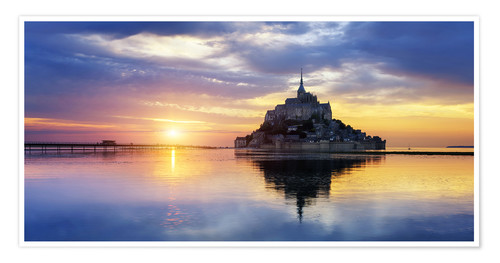 Poster Le Mont-Saint-Michel at sunset