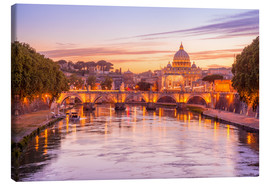 Tableau sur toile  Skyline of Rome in a magenta dawn
