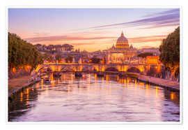 Poster  Skyline of Rome in a magenta dawn