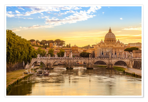 Poster Saint Peter Basilica with Sant'Angelo Bridge