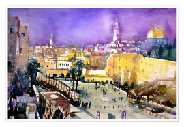 Poster  Jerusalem, Dome of the Rock with Wailing Wall - Johann Pickl