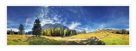 Poster 360 ° mountain panorama in the Wettersteingebirge south face with Mieminger chain