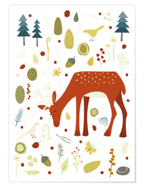 Poster  Deer with Forest Things - Nic Squirrell