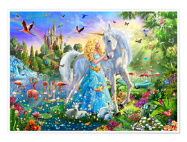 Poster  31184 The Princess, the Unicorn and the Castle - Adrian Chesterman