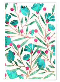 Poster Turquoise Floral