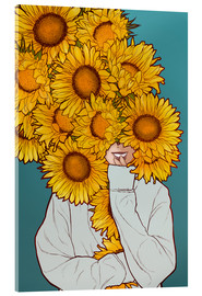 Tableau en verre acrylique  Happy Sunflowers - Paola Morpheus