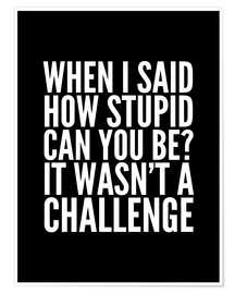 Poster When I Said How Stupid Can You Be It Wasn't a Challenge