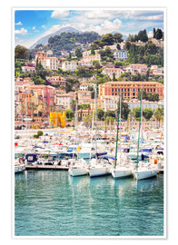 Poster  colorful houses and yachts in Menton