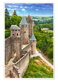Poster  Fortress Carcassonne in France, Languedoc