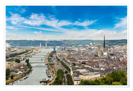 Poster  Panoramic aerial view of Rouen
