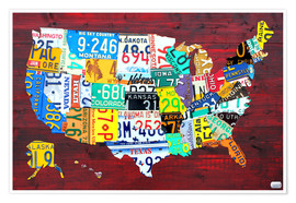 Poster  License Plate Map of the USA - Design Turnpike