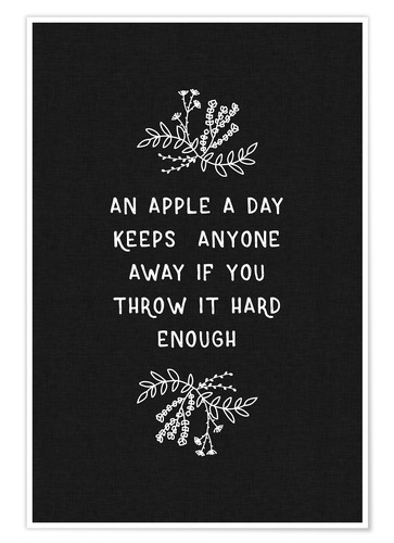 Poster An Apple A Day Black-White