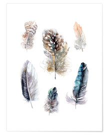 Poster  Collection de plumes - Verbrugge Watercolor