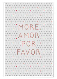 Poster  More Amor Por Favor Rose Gold - Orara Studio