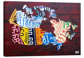 Tableau sur toile  License Plate Map of Canada - Design Turnpike