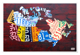 Poster  License Plate Map of Canada - Design Turnpike