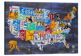 Alu-Dibond  License Plate Map of the United States on Blue Wood Planks - Design Turnpike