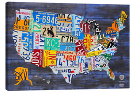 Toile  License Plate Map of the United States on Blue Wood Planks - Design Turnpike