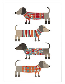 Poster  Chiens saucisses en chandails - Nic Squirrell