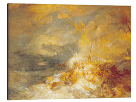 Tableau en aluminium  Incendie en mer - Joseph Mallord William Turner