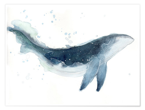 Poster Watercolor Whale