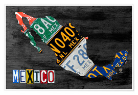 Poster  License Plate Map of Mexico - Design Turnpike