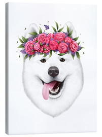Toile  Samoyed with flowers - Valeriya Korenkova