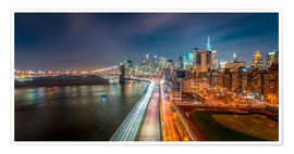 Poster New York Panorama Night Skyline