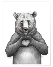 Poster  Bear with heart - Nikita Korenkov